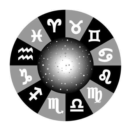 omens: the illustration with the universe and the zodiac.