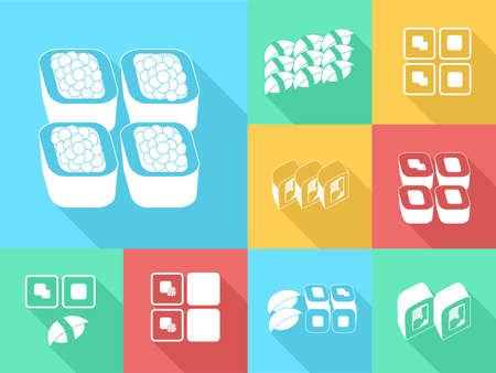 glamors: illustration in style of flat design on the theme of food - the sushi.