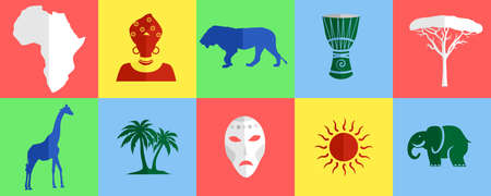 mulatto: set of icons in the style of a flat design on the theme of Africa.