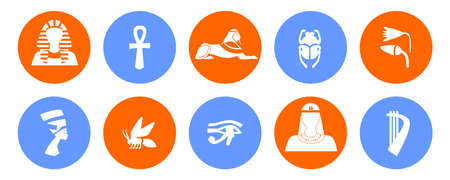 egyptology: set of icons in the style of a flat design on the theme of egypt.