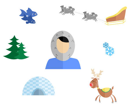 polar lights: set of icons in the style of a flat design on the theme of Eskimo. Illustration