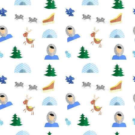 dog sled: the background in the style of a flat design on the theme of Eskimo.
