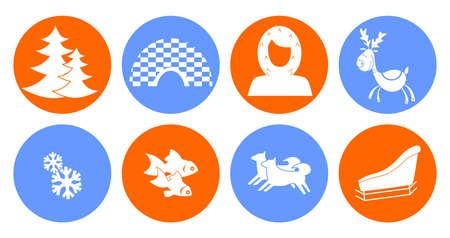 eskimo dog: set of icons in the style of a flat design on the theme of Eskimo. Illustration