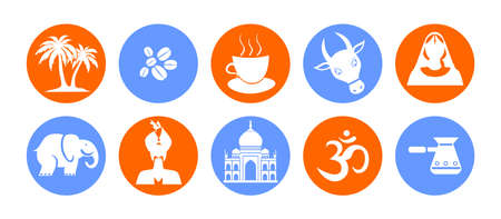squaw: set of icons in the style of a flat design on the theme of india.