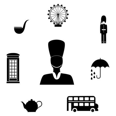 guardsman: set of icons in the style of a flat design on the theme of Great Britain.