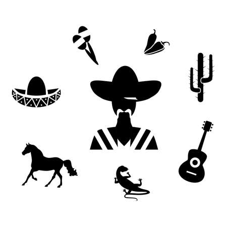 serenade: set of icons in the style of a flat design on the theme of mexico. Illustration