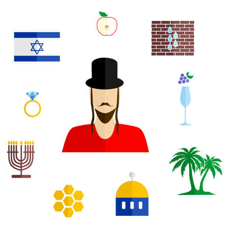 synod: set of icons in the style of a flat design on the theme of israel.