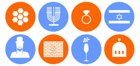 the rabbi: set of icons in the style of a flat design on the theme of israel.