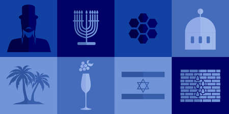 jews: set of icons in the style of a flat design on the theme of israel.