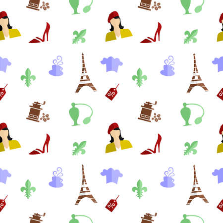 frenchwoman: the background in the style of a flat design on the theme of france. Illustration