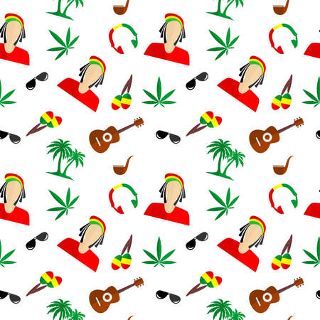 rastafarian: the background in the style of a flat design on the theme of Rastafarian. Illustration