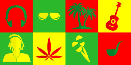 rastafarian: set of icons in the style of a flat design on the theme of Rastafarian. Illustration