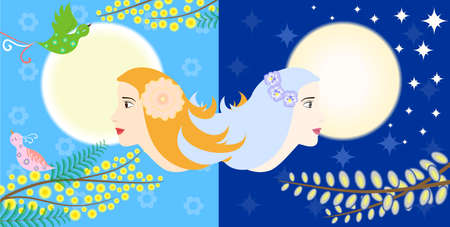 opposites: Illustration - concept - on the theme of two opposites - night and day.
