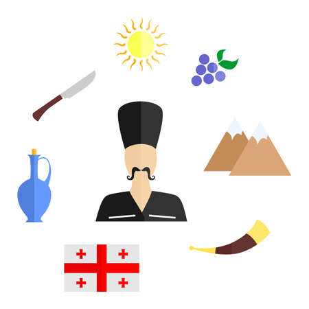caucasus: set of icons in the style of a flat design on the theme of Georgia.