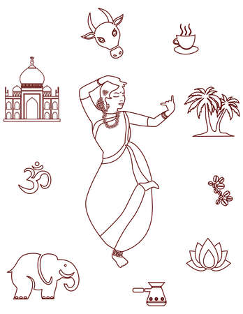 sari: set with a beautiful girl and objects on the theme of India.