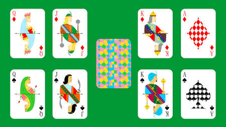 playing: beautiful and original set of designer playing cards. Illustration