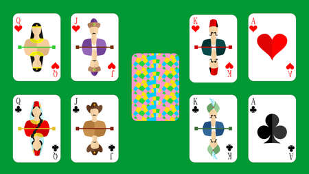 american roulette: beautiful and original set of designer playing cards in the style of flat design.