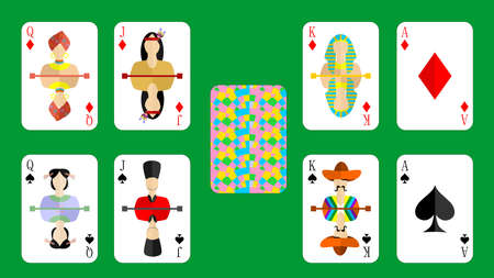 solitaire: beautiful and original set of designer playing cards in the style of flat design.