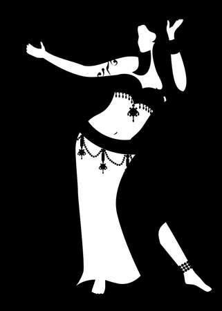 ilustración de una chica linda que baila la danza del vientre.