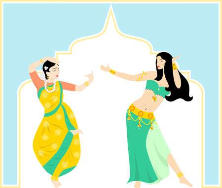 belly dancing: illustration of a pretty girls who dances oriental dances.