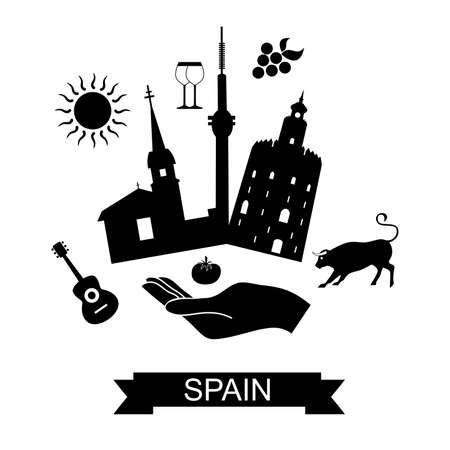 siesta: illustration in the style of flat design on the theme of spain and its attractions.