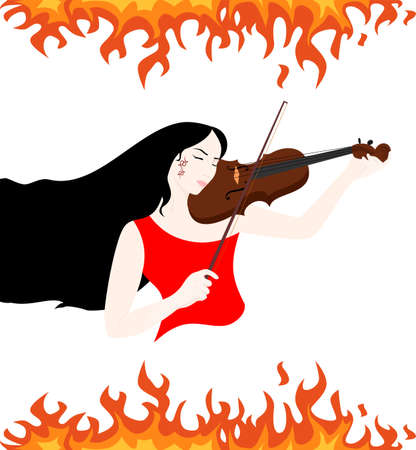 passion play: the illustration of a beautiful girl who plays the violin.