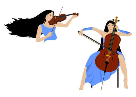 fiddles: the illustration of a beautiful girls who plays the violin and the cello. Illustration