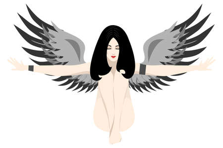wings bird: the illustration of the beautiful girl with long hair and wings.