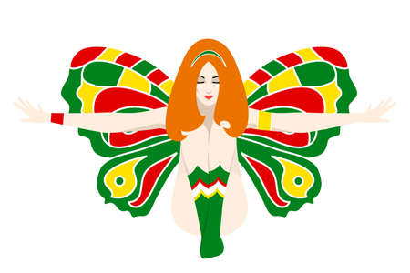 shame: the illustration of the beautiful girl with long hair and wings.