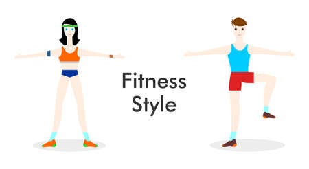 glamors: illustration style flat design on the theme of sport and a healthy lifestyle.