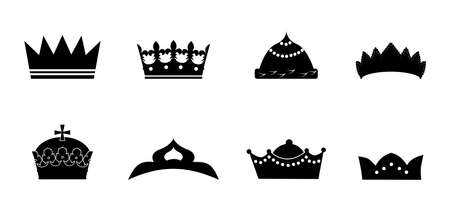 royal person: beautiful and diverse set of crowns in the style of a flat design. Illustration