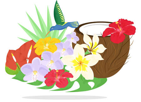 beautiful and bright still life on the theme of tropics.
