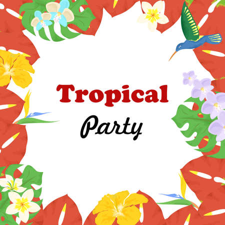 tropics: beautiful and bright template on the theme of tropics. Illustration