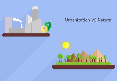 urbanization: the illustration dedicated to comparison of urbanization and nature.