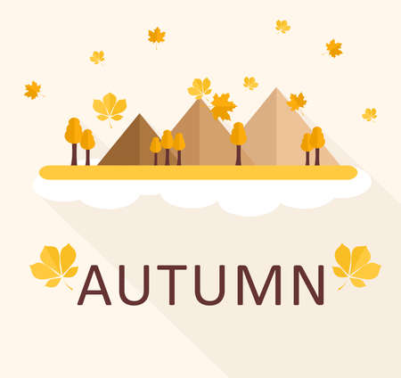 fall scenery: illustration in style of flat design on the theme of nature and autumn. Illustration