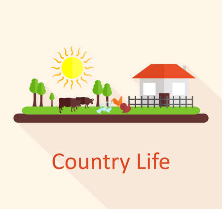 country life: illustration in style of flat design on the theme of country life.