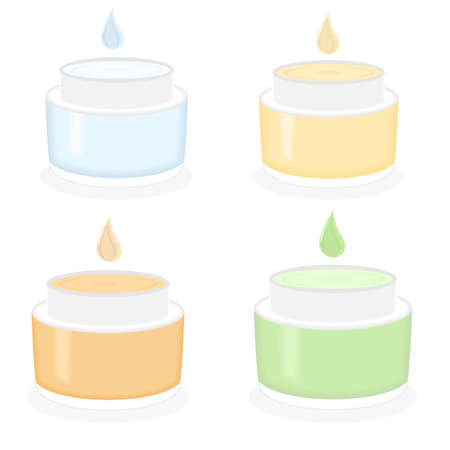 wrinkle: illustration on the theme of cosmetics with cosmetic creams made of herbs. Illustration