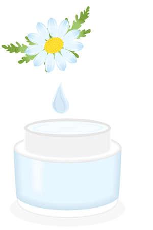 wrinkle: illustration on the theme of cosmetics with cosmetic cream made of herbs. Illustration