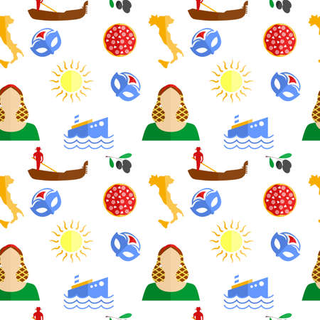 european culture: the background in the style of a flat design on the theme of italy. Illustration