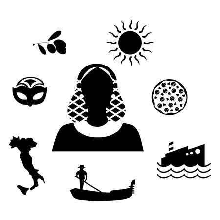 european culture: set of icons in the style of a flat design on the theme of italy. Illustration
