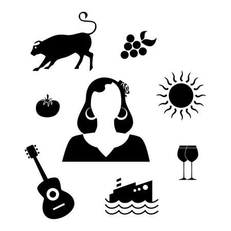 european culture: set of icons in the style of a flat design on the theme of spain. Illustration