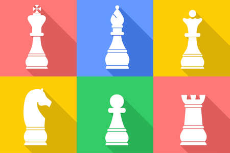 adversary: set of icons in style of flat design on the theme of chess.
