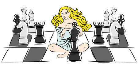 beauty queen: Illustration in style of sketch with a beautiful girl and chess.