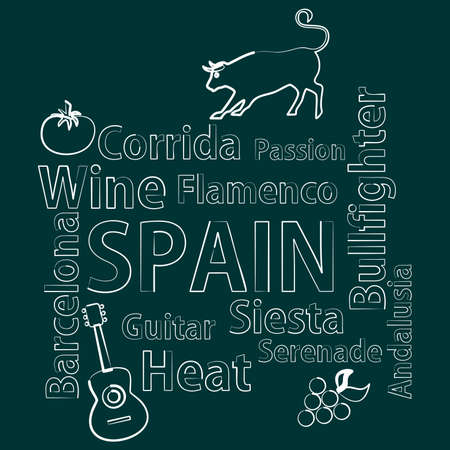 siesta: illustration in style of flat design on the theme of spain.