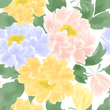 peonies: the beautiful illustration with colorful flowers - peonies.