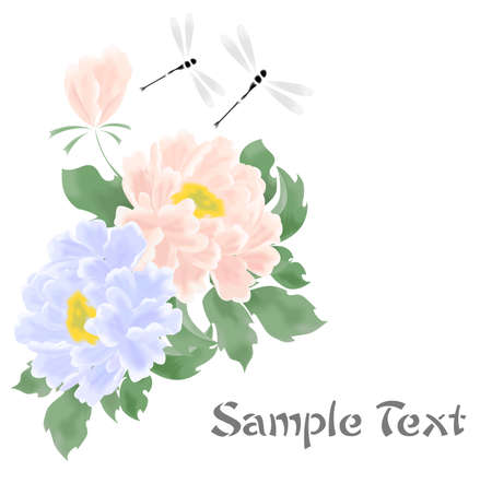 the beautiful illustration with colorful flowers - peonies.