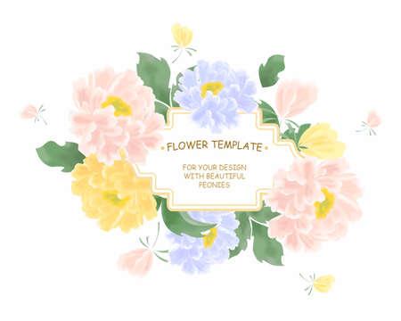 pfingstrosen: die schöne Illustration mit bunten Blumen - Pfingstrosen.