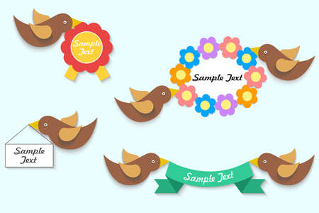 illustration - set - with beautiful birds in the style of a flat design.
