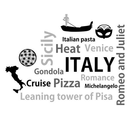 european culture: illustration in style of flat design on the theme of italy. Illustration