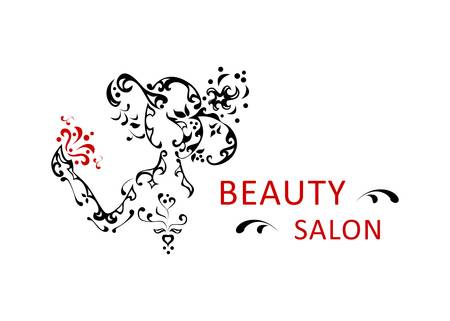 illustration for the beauty salon with Woman in hat.